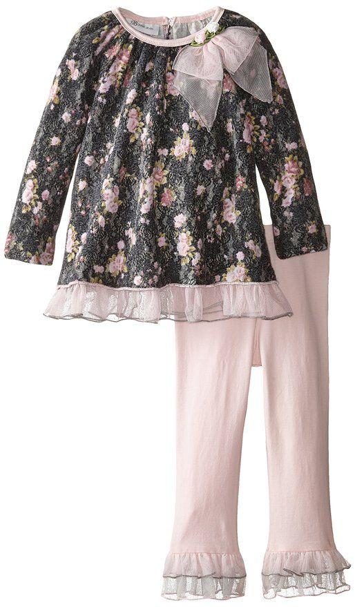 Bonnie Jean Little Girls' Floral Brushed Lace Playwear Set, Grey, 4