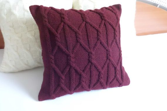 Eggplant Colored Throw Pillows : Custom plum chunky hand knit pillow cover, eggplant knit cushion, decorative couch pillow, throw ...
