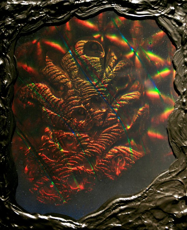 """Special Relativity"" 2012 Reflection Hologram Agfa Slavich Glass Holographic Plate, (TEA), Acrylic Paint 14X16 Inches"