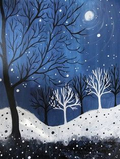elementary line art projects   especially love the white trees in the bkd and the black in the ...