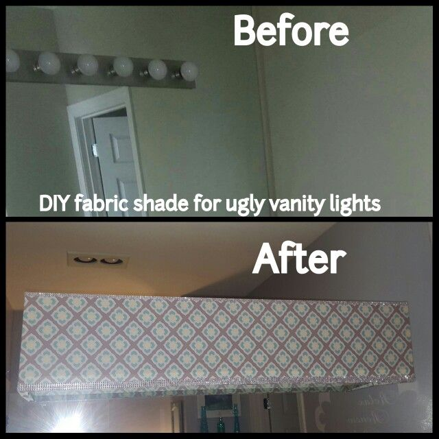 DIY fabric shade for vanity lights in master bathroom. Grey, turquiose, teal, white ...