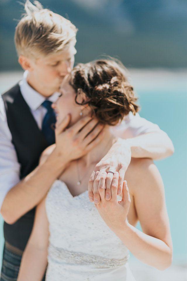 a kiss and a ring shot at Abraham Lake