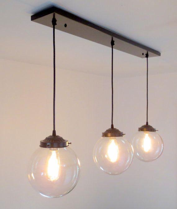 Biddeford. Modern LIGHT Trio of Large Globe Pendants with Edison Bulbs - Mason Jar Light Fixture - The Lamp Goods - 2