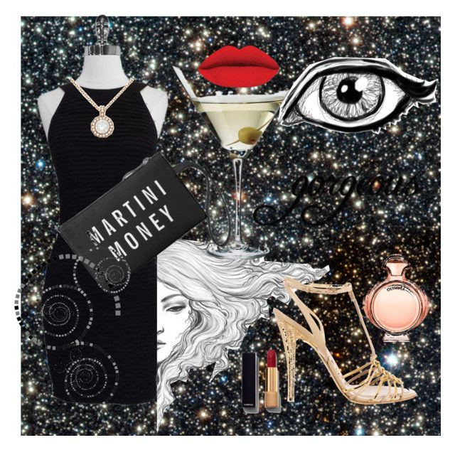 """martini look"" by anagalvezschuler on Polyvore featuring moda, Chanel, Paco Rabanne, Salvatore Ferragamo, Allurez, women's clothing, women's fashion, women, female y woman"