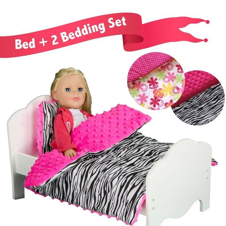 "Olivia's Little World - Little Princess 18"" Doll Single Bed & 2 Bedding Set - Zebra Prints / Summer Flowers"