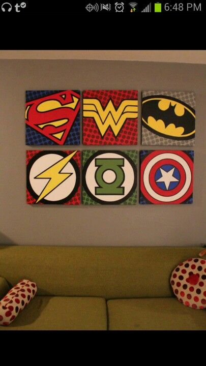Super hero wall art - I could probably figure out how to do this.. would be perfect for Dave's man cave!