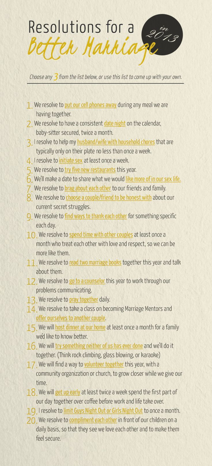 Resolutions for a Better Marriage. Choose any three from this list! #staymarried #marriage #resources