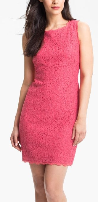 Soft lace meets bold pink for this adorable bridesmaids dress
