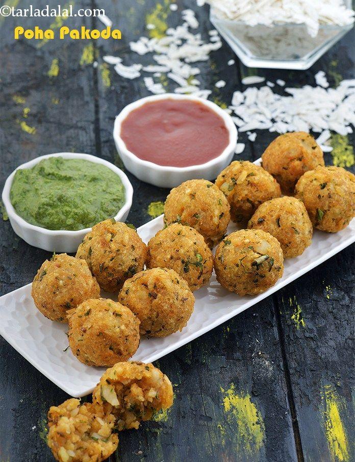 Poha Pakoda, Poha Pakora Recipe in 2020 Veg snacks