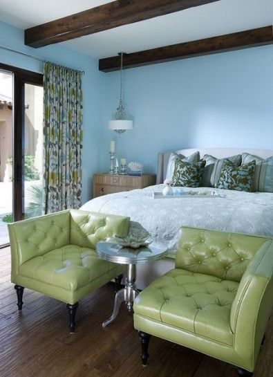 Green Sofa Sets and Blue Wall Paint Color Scheme in Contemporary Bedroom Design Ideas
