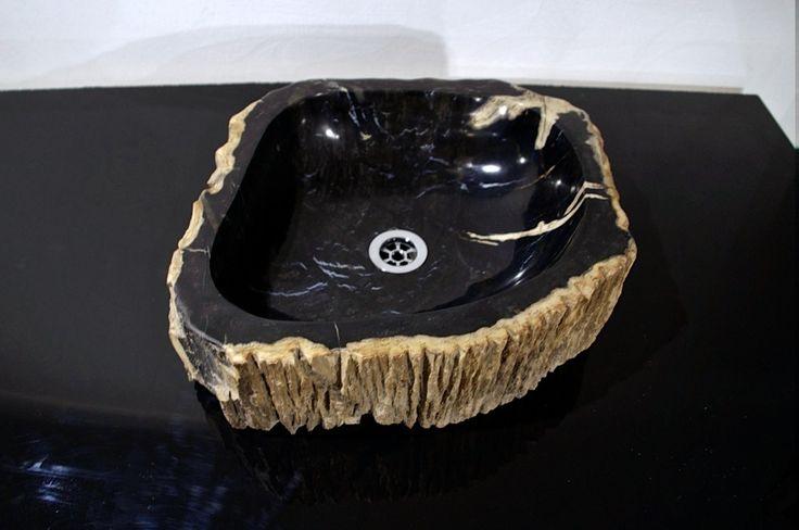 Раковина из окаменелого дерева, раковина из натурального камня, Индонезия Petrified wood sink, natural stone sink, Indonesia