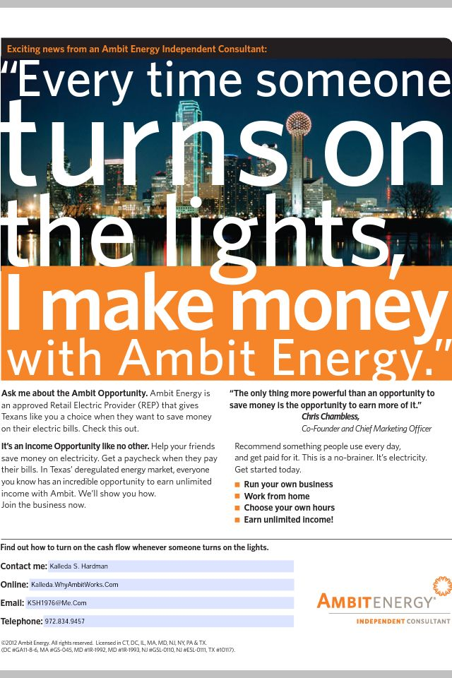 You Pay Your Electric And Gas Bill Every Month, Right?! Sign Up With Ambit Energy And Start Saving On What You Already Pay For: http://kalleda.myambit.com/rates-and-plans