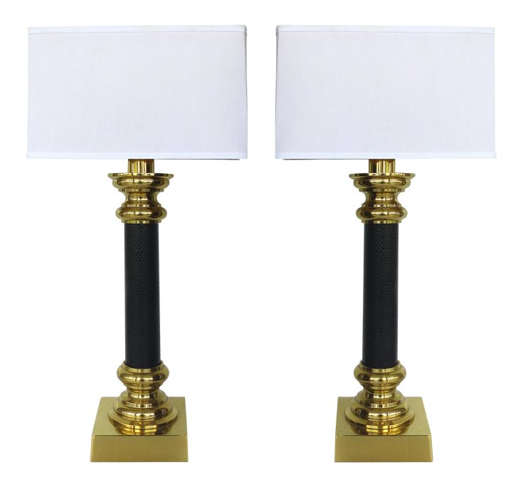 Stiffel brass and leather column table lamps a pair