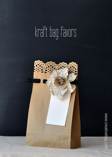 paper bags as gift wrap or as party favors - use fancy edge punches along bag opening & punch holes across 1 inch below to weave thin ribbon or yarn through ...