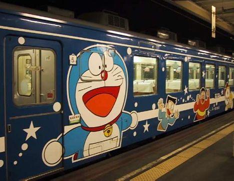 Doraemon train, Seikan Tunnel Tappi Shak? Line, Hokkaido, Japan. This Doraemon train runs back and forth through the Seikan Tunnel, an undersea railway connecting Honshu and Hokkaido.