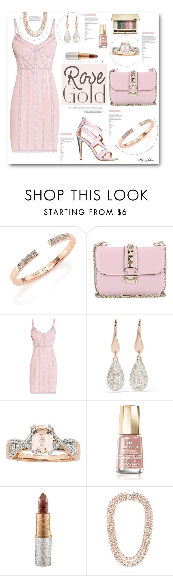 """So Pretty: Rose Gold Jewelry"" by jelenalazarevicpo ❤ liked on Polyvore featuring Vita Fede, Valentino, Hervé Léger, Monica Vinader, Mavala, MAC Cosmetics and Larkspur & Hawk"