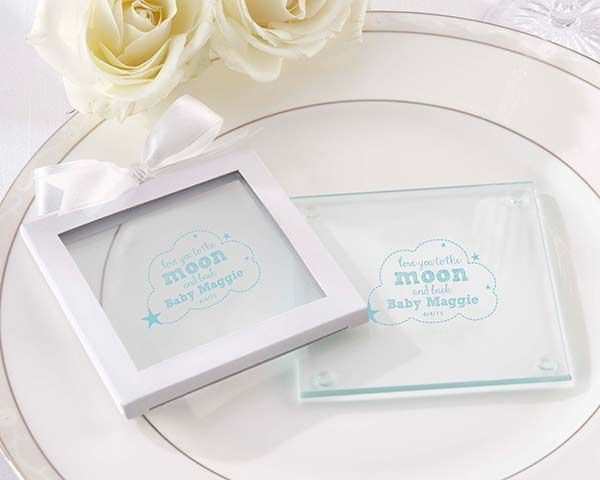 Personalized Glass Coaster To The Moon Back Set Of 12 Wedding Coasters Favors Personalized Glass Coaster Wedding Coasters