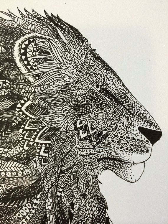 Hand Drawn Zentangle Lion Ink Drawing Print by TheEclecticElephant