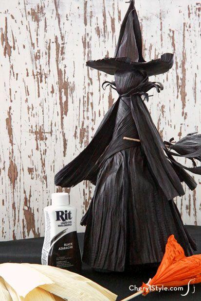 diy dyed cornhusk witch instructions
