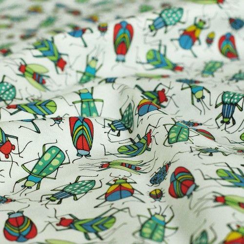 tkanina bawełniana owady Swarm White Blend Fabrics