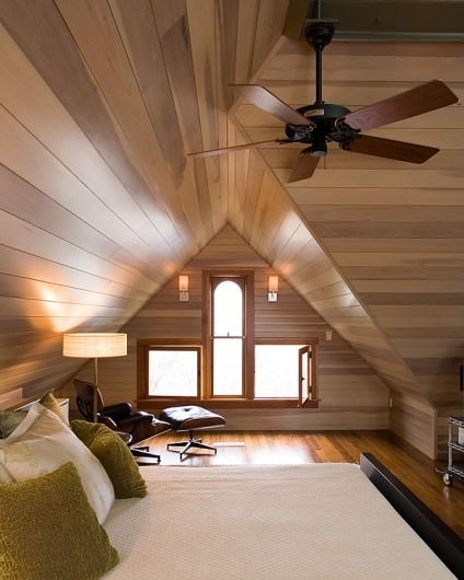Would love to renovate the bungalow to look like this loft bedroom. Not usually a fan of wood [paneled] walls, but this is simple and elegantly done.