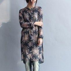 Elegant blue silk dresses plus size cotton shift dresses shirt long blouse