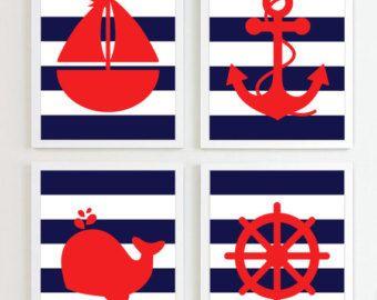 Impresiones náuticas - rojo y azul marino conjunto de 4 - playa de océano mar más colores disponibles