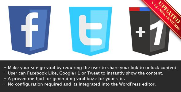 Viral Lock - Like, Google+1 or Tweet to Unlock  #codecanyon