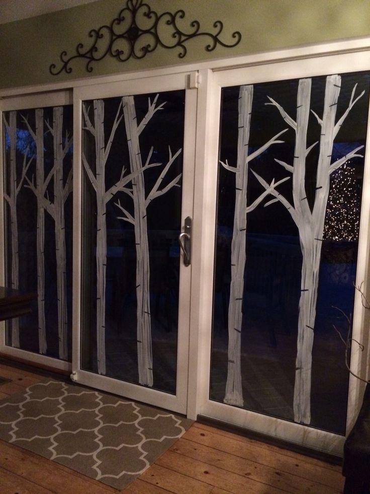 Birch tree Christmas window painting. #birchtrees #windowpainting #christmas #christmasdecor