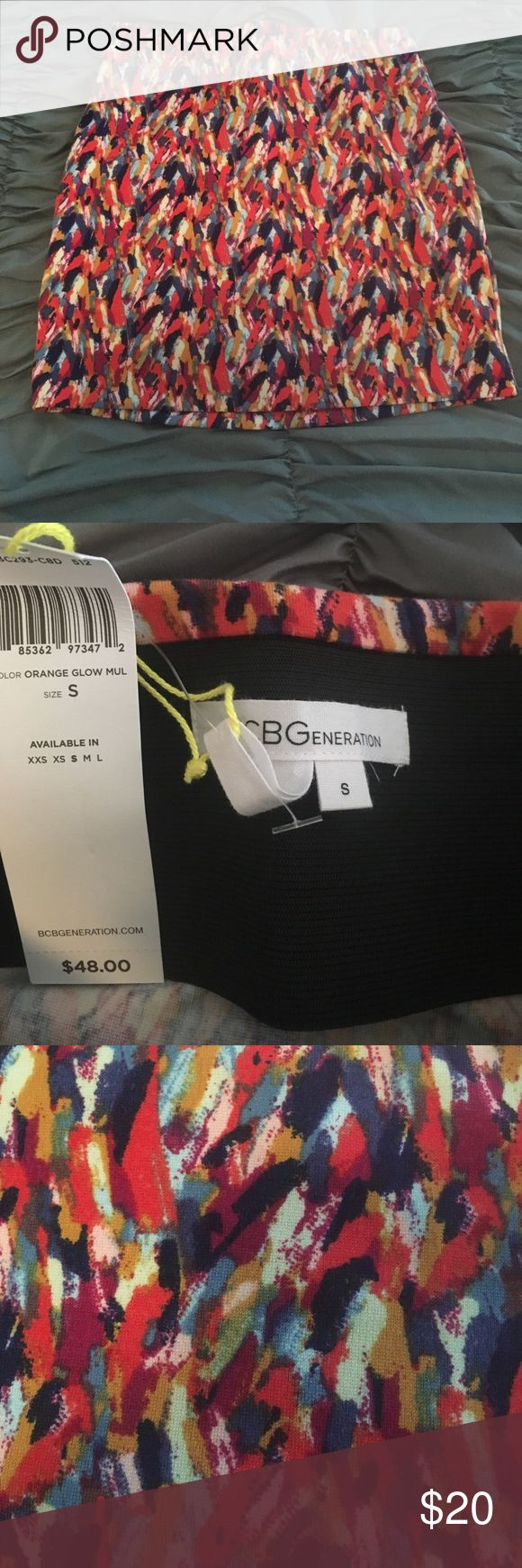 BCBGeneration skirt size S NWT Bright brand new BCBGeneration skirt with wide (hidden) waist band. Fitted style. BCBGeneration Skirts Mini