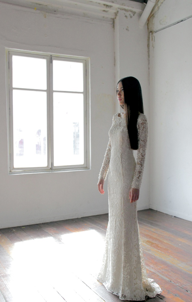 Full corded lace dress with pearl and crystal embellishments.