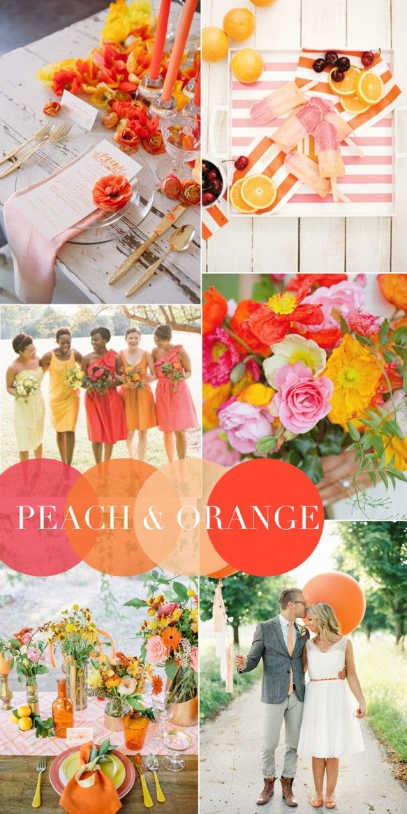 Pèche et orange, combinaisons gagnantes de couleurs pour votre mariage en 2015.  Peach and orange winning color combinations for your wedding in 2015.