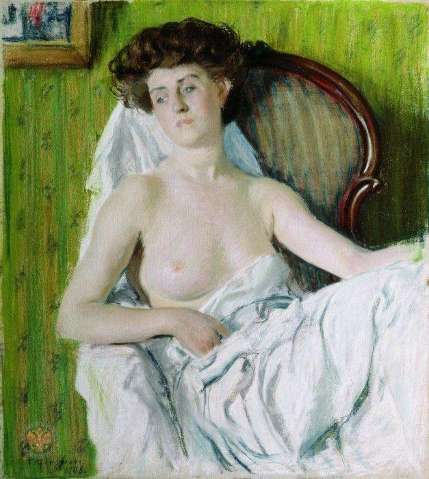 Борис Михайлович Кустодиев (1878-1927) - Портрет дамы, Холст, пастель