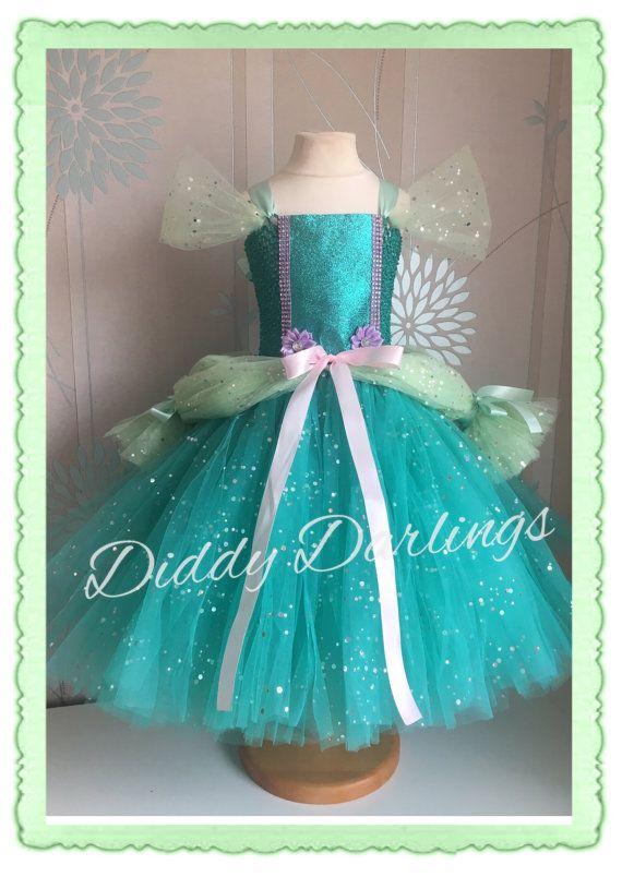 Ariel Vestido de saten. Pequeña sirena Tutu por DiddyDarlings