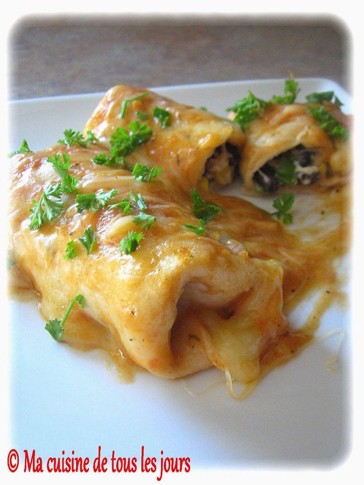 Enchiladas aux haricots noirs et épinards