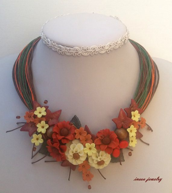 Flower NecklaceAutumn JewelryStatement by insoujewelry on Etsy