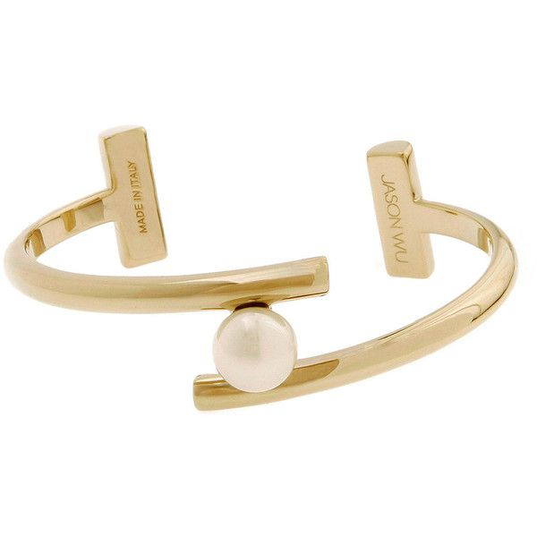 Jason Wu Gold-Plated Floating Pearly Bracelet found on Polyvore featuring jewelry, bracelets, gold, 18k bangle, 18k gold plated bracelet, american jewelry, cuff bracelet and jason wu
