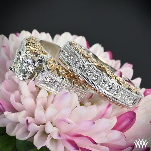 Rose Gold Engagement Ring Set    Color blossoms with the 'Delicate Blush' Diamond Wedding Set.