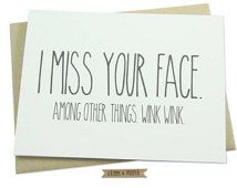 Miss You Card, Miss Your Face, Love, Long Distance Relationship, Thinking of you, Wish You Were Here, Boyfriend, Husband, Girlfriend, Wife