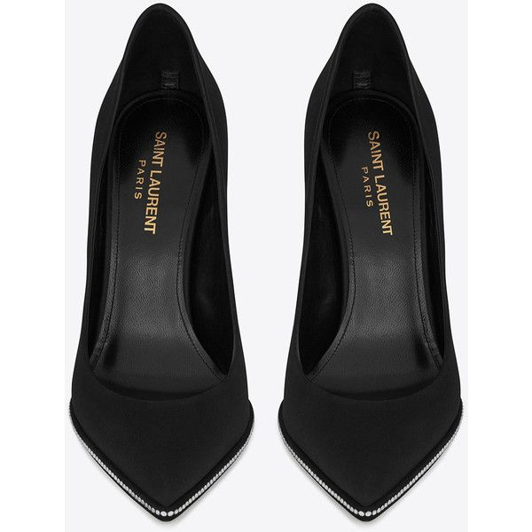 Saint Laurent FREJA 105 pump in black satin and white crystals (12.342.730 IDR) ❤ liked on Polyvore featuring shoes, pumps, kohl shoes, satin shoes, white pumps, black satin pumps and white court shoes