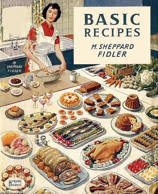 Basic Recipes - c. 1945 Oh yes, nothing FANCY on that table!