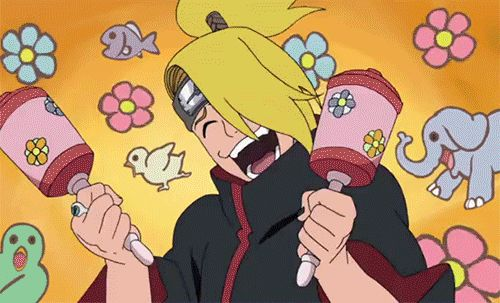 Deidara must've took a mixture of drugs to be this crazy. Watch episodes 280 and 377 and you'll see. :33