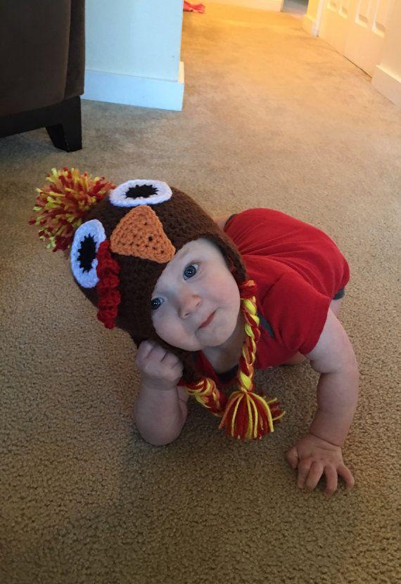 Newborn Crochet Turkey Hat Turkey Hat Newborn Thanksgiving