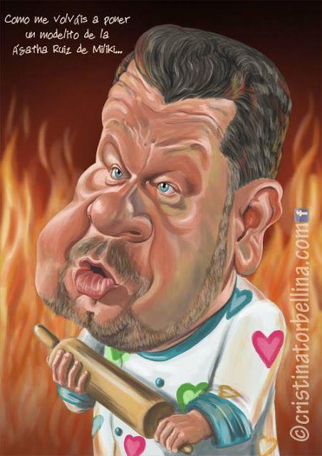 Caricatura del cocinero y presentador de televisión Alberto Chicote, realizada por la artista Crist...