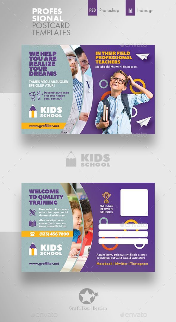 Kids School Postcard Templates Psd Indesign Indd