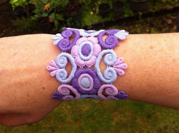 Mixed purples wide lace bracelet by CindysAccessories on Etsy, $15.00
