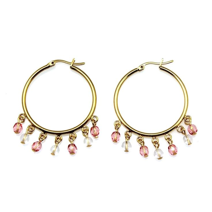 Celie Emotional Rescue Pink and Clear Czech Glass Earrings Gold Plated