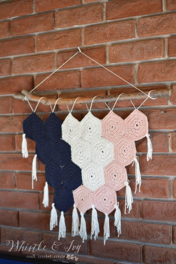 Boho Hexagon Wall Hanging by Whistle and Ivy ༺✿Teresa Restegui http://www.pinterest.com/teretegui/✿༻