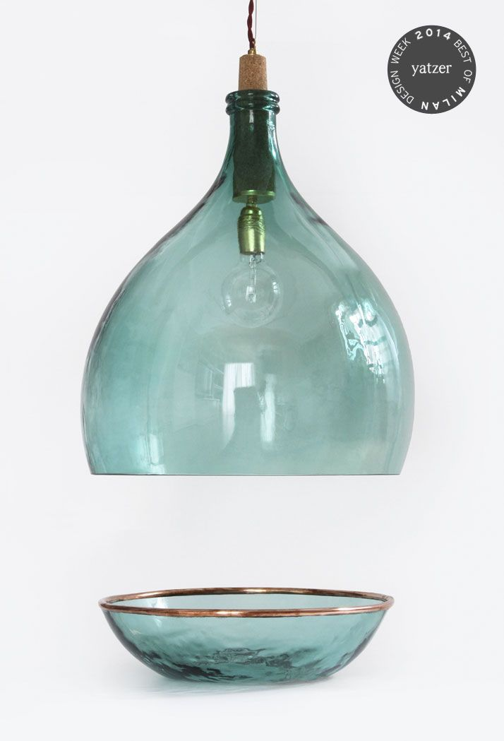Vintage Demijohn Collection by Luca Martorano and Mattia Albicini: Old, handmade wine demijohns, recovered from winemakers of Tuscany and South Tyrol, have been carefully selected, cleaned and decorated with precious metal elements, creating a series of bizarre objects.
