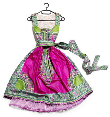 Traditional Bavarian dress made from African tie-dye fabric 3.